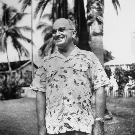 0caa2ce8e President Harry S. Truman, Arriving in Key West Wearing Hawaiian Shirt  Photographic Print by George Skadding | Art.com