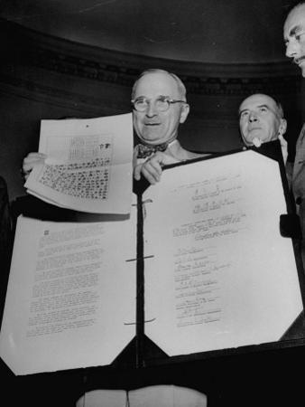 President Harry S. Truman Receiving the Surrender Documents from the Japanese