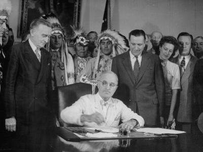 President Harry S. Truman Signing Bill Providing for Establishment of Indian Claims Commission