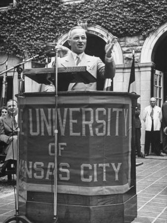 President Harry S. Truman Speaking at University of Kansas City
