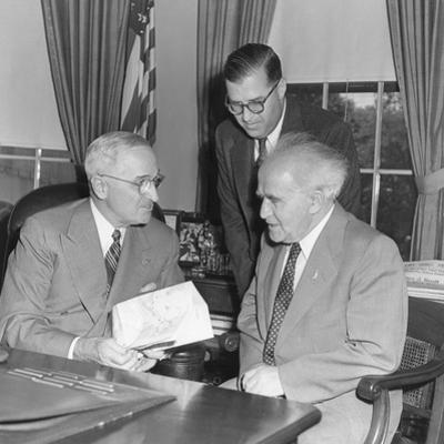 President Harry Truman Meeting with Pm David Ben-Gurion (Seated) and Ambassador Abba Eban of Israel