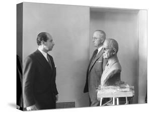 President Harry Truman Poses Next to the Bust by Artist Felix De Weldon (Left), Jan. 7, 1949