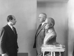 President Harry Truman Poses Next to the Bust by Artist Felix De Weldon (Left), Jan. 7, 1949