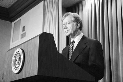 President Jimmy Carter Speaking During the Iran Hostage Crisis-Stocktrek Images-Photographic Print