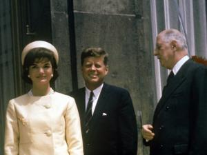 President John F. Kennedy and Wife Jacqueline Visiting W. French Pres. Charles De Gaulle in Paris