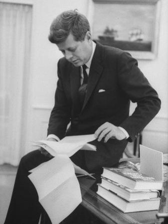 President John F. Kennedy Working in the White House Office
