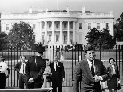 President John Kennedy in Front of the White House--Photo