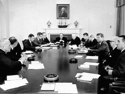 President John Kennedy Meets with His Cabinet--Photo