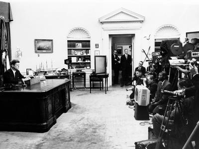 President John Kennedy Television Address on Civil Rights--Photo