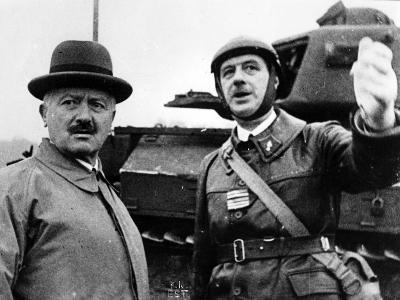 President Lebrun on a Visit of Inspection of Colonel De Gaulle's Tank Unit at Goetzenbruck--Photographic Print