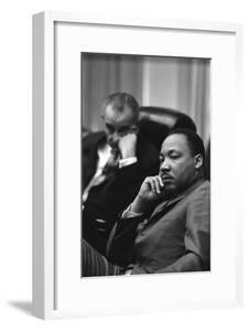 President Lyndon Johnson and Martin Luther King Jr. in the Cabinet Room White House. March 18 1966