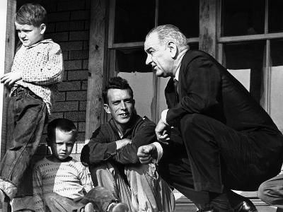 President Lyndon Johnson in Conversation the Tom Fletcher Family of Inez, Kentucky--Photo