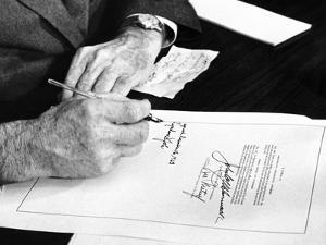 President Lyndon Johnson Signs a $102 Billion Education Bill at the White House Today