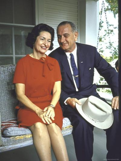 President Lyndon Johnson Sitting on Proch Swing with Wife on Morning Following His Election Win-John Dominis-Photographic Print