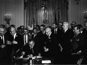 President Lyndon Johnson, Watched by Martin Luther King, Jr. Signing Civil Rights Act, July 2, 1964