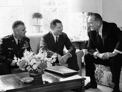 President Lyndon Johnson with Gen William Westmoreland and Defense Secretary Robert McNamara--Photo