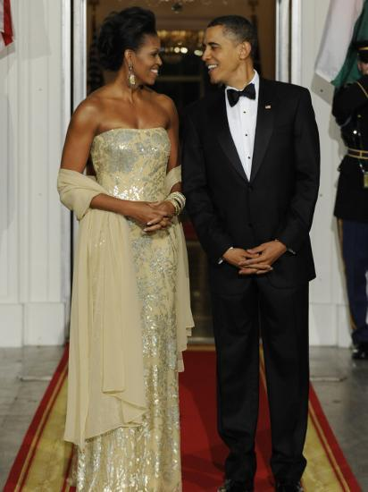 President Obama and First Lady before Welcoming India's Prime Minister and His Wife to State Dinner--Photographic Print