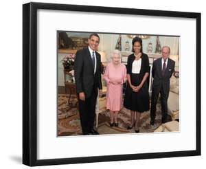 President Obama and His Wife Pose with Queen Elizabeth II and Prince Philip, During an Audience at