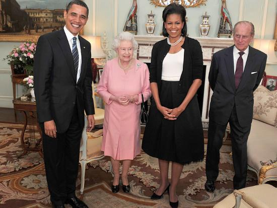 President Obama and His Wife Pose with Queen Elizabeth II and Prince Philip, During an Audience at --Photographic Print
