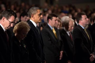 President Obama Attends a Sandy Hook Interfaith Vigil at Newtown High School in Newtown, Conn--Photo
