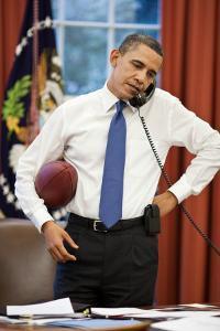 President Obama on the phone with House Speaker John Boehner:Oval Office, April 8, 2011