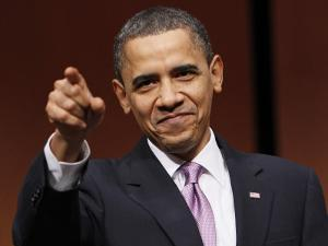 President Obama Points to Crowd before Signing Health Care and Education Reconciliation Act of 2010