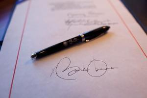 President Obama's Signature on a Bill and a Pen Used For the Signing, Feb. 17, 2009