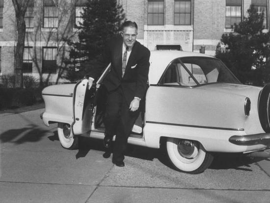 President of American Motors George W. Romney Getting Out of His Car-Grey Villet-Photographic Print