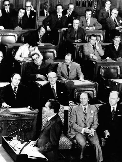 President Richard Nixon Addressing a Joint Session of the Canadian Parliament--Photo