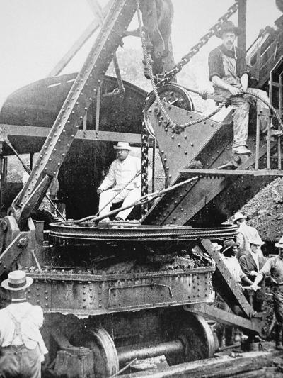 President Theodore Roosevelt, T the Culebra Cut During the Digging of the Panama Canal, 1906--Photographic Print