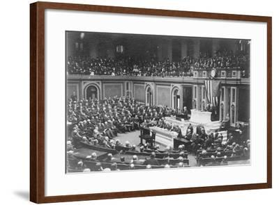 President Woodrow Wilson addressing Congress, c.1917-Harris & Ewing-Framed Photographic Print