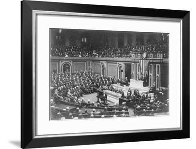 President Woodrow Wilson addressing Congress, c.1917-Harris & Ewing-Framed Photographic Print