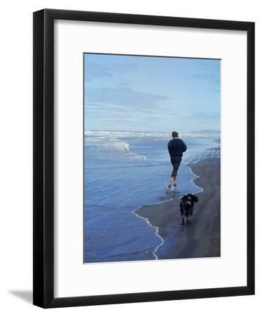 Presidential Candidate Bobby Kennedy and His Dog, Freckles, Running on an Oregon Beach-Bill Eppridge-Framed Premium Photographic Print