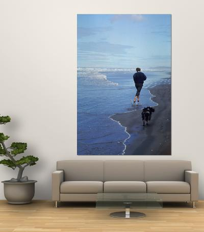 Presidential Candidate Bobby Kennedy and His Dog, Freckles, Running on an Oregon Beach-Bill Eppridge-Giant Art Print