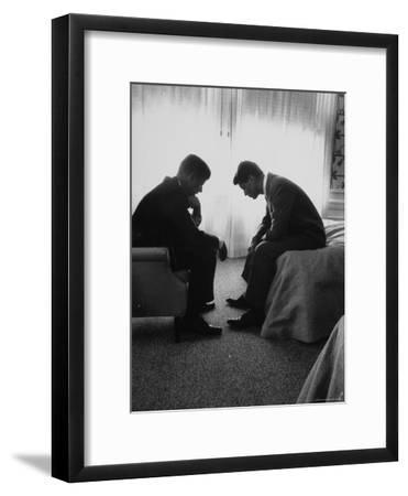 Presidential Candidate John Kennedy Conferring with Brother and Campaign Organizer Bobby Kennedy-Hank Walker-Framed Premium Photographic Print