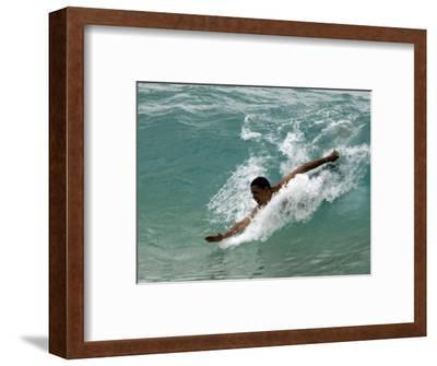 Presidential Candidate Senator Barack Obama, On Vacation, Body Surfing at a Beach, Honolulu, Hawaii