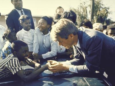 Presidential Contender Bobby Kennedy Stops During Campaigning to Shake Hands African American Boy-Bill Eppridge-Photographic Print