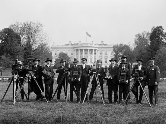 Press Correspondents and Photographers on White House Lawn--Photographic Print