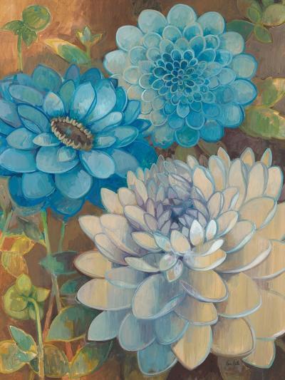 Pretty Blue Dahlias 1-Vera Hills-Art Print