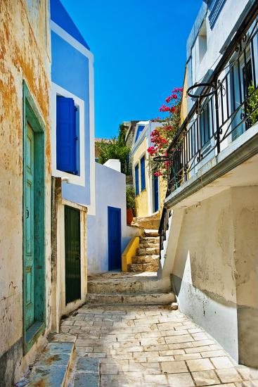 Pretty Colored Streets of Greek Islands-Maugli-l-Photographic Print