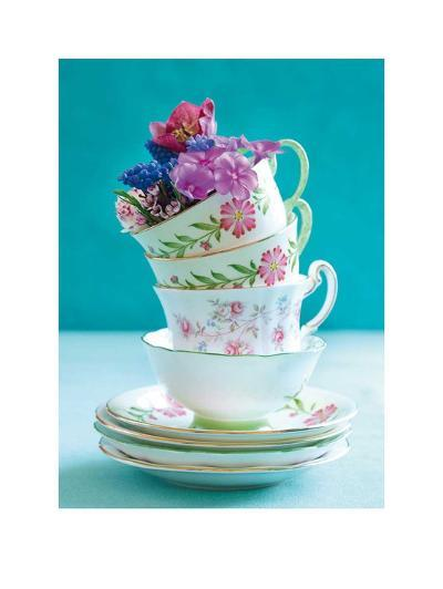 Pretty Cups and Flowers-Shooter & Floodgate-Art Print