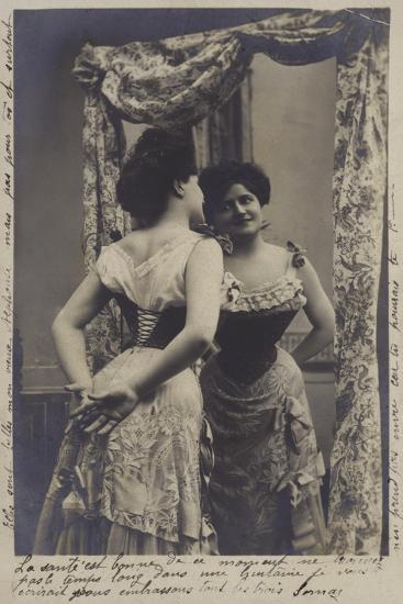 Pretty Girl Admiring Herself in the Mirror--Giclee Print