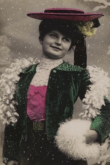 Pretty Girl, in Fine Clothes, in the Snow--Giclee Print