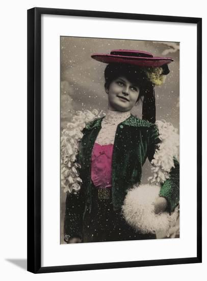 Pretty Girl, in Fine Clothes, in the Snow--Framed Giclee Print