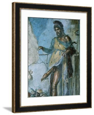 Priapus by Weighing His Penis. Fresco. Pompeii. Italy--Framed Giclee Print