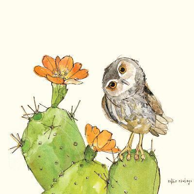 Prickly Pear and Elf Owl-Robbin Rawlings-Art Print
