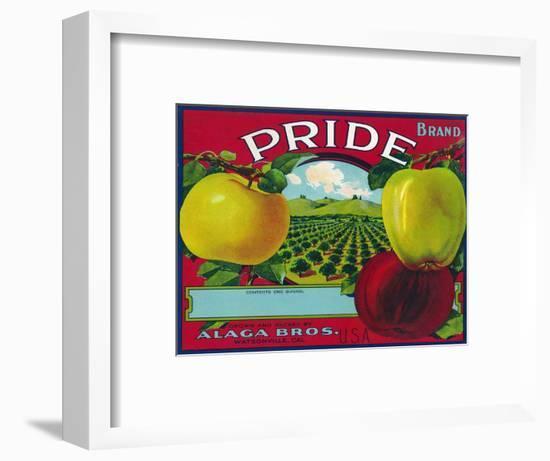 Pride Brand Apple Label, Watsonville, California-Lantern Press-Framed Art Print