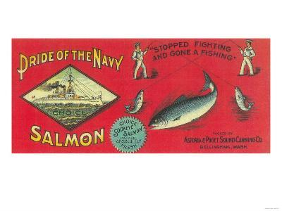 Pride of the Navy Salmon Can Label - Bellingham, WA-Lantern Press-Art Print