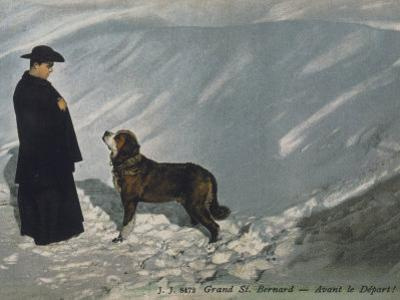 Priest from the Hospice on the St. Bernard Pass with One of the Famous Rescue Dogs