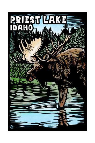 Priest Lake, Idaho - Moose Scratchboard-Lantern Press-Art Print